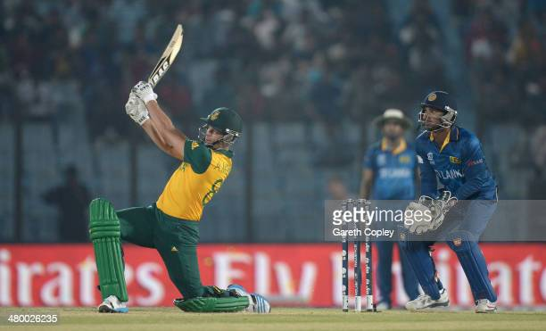 Albie Morkel of South Africa hits out for six runs during the ICC World Twenty20 Bangladesh 2014 Group 1 match between Sri Lanka and South Africa at...