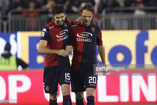 Albin Ekdal of Cagliari celebrated with the team mates the goal 10 during the Serie A match between Cagliari Calcio and Parma FC at Stadio Sant'Elia...