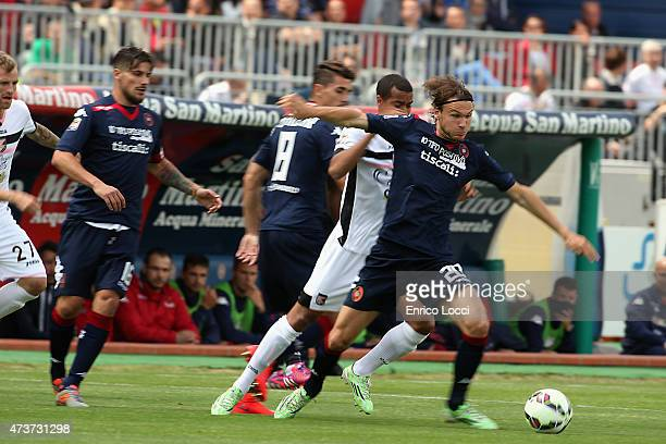 Albin Ekdal of Cagliari in action during the Serie A match between Cagliari Calcio and US Citta di Palermo at Stadio Sant'Elia on May 17 2015 in...