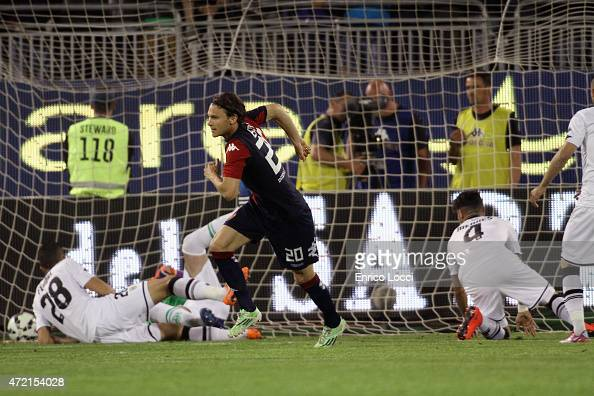 Albin Ekdal of Cagliari scored the goal 10 during the Serie A match between Cagliari Calcio and Parma FC at Stadio Sant'Elia on May 4 2015 in...