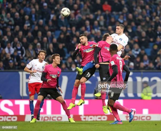 Albin Ekdal of Hamburg and Sebastian Langkamp of Hertha BSC Berlin and Vedad Ibisevic of Hertha BSC Berlin and Niklas Stark of Hertha BSC Berlin and...