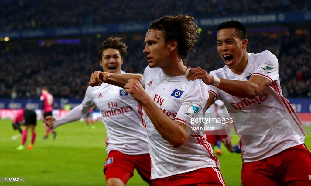 Albin Ekdal of Hamburg celebrates after scoring his teams first goal during the Bundesliga match between Hamburger SV and Hertha BSC at Volksparkstadion on March 5, 2017 in Hamburg, Germany.