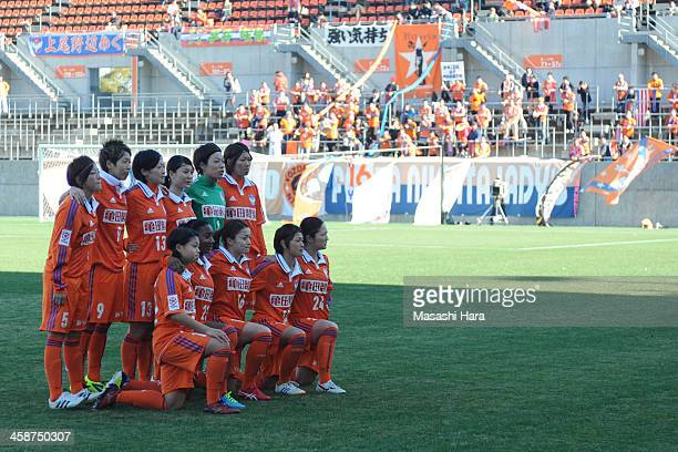 Albirex Nigata players pose for photograph prior to the 35th Empress Cup All Japan Women's Football Championship semifinal match between Okayama...