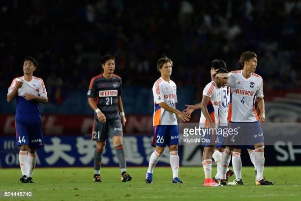 Albirex Niigata players react after the 11 draw in the JLeague J1 match between FC Tokyo and Albirex Niigata at Ajinomoto Stadium on July 30 2017 in...