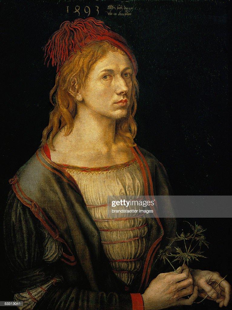 Albrecht Duerer, Self-portrait, Oil on canvas, 1493. (Photo by Imagno/Getty Images) [Albrecht Duerer, Selbstportrait. Gemaelde, 1493.]