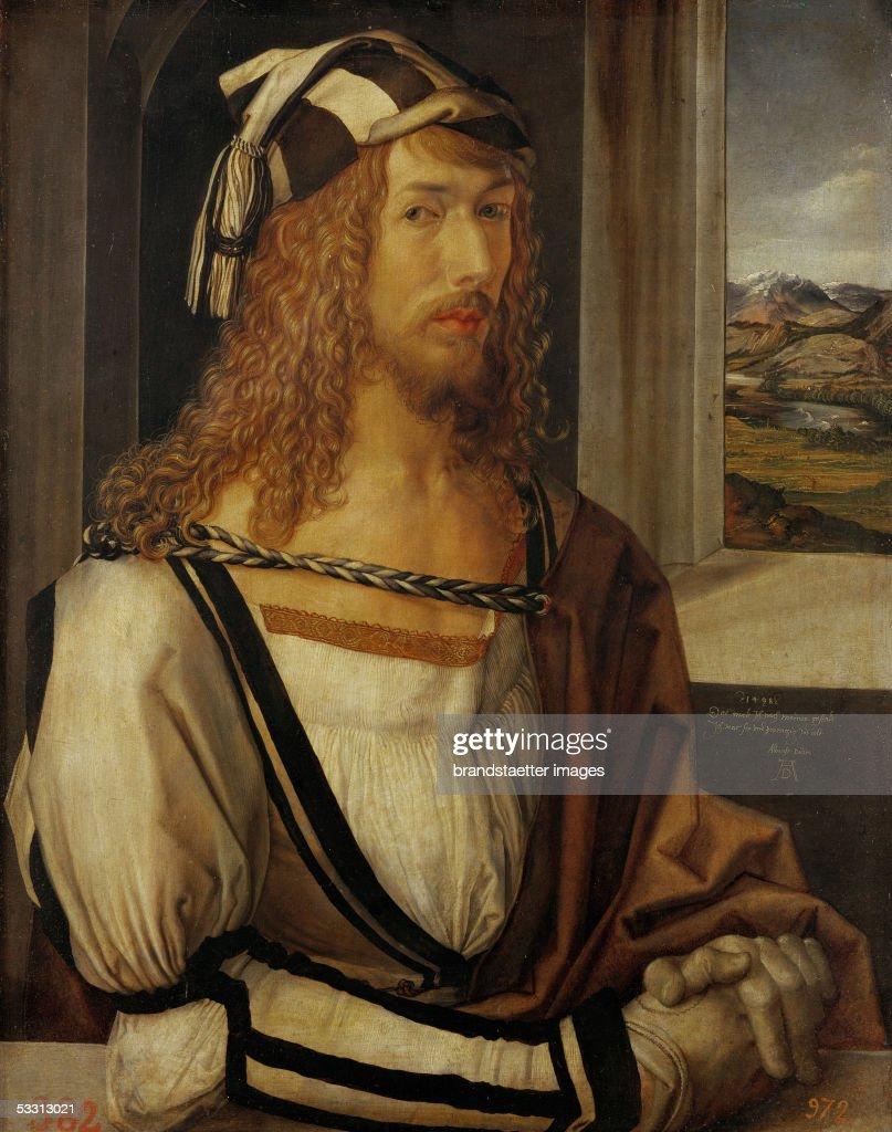 Albrecht Duerer, self-portrait. Oil on wood. 1498. (Photo by Imagno/Getty Images) [Albrecht Duerer Selbstportrait, 1498. Holz, 52 x 41 cm. Cat.2179]
