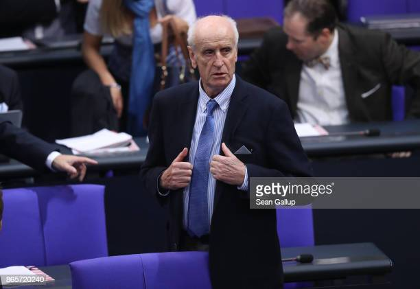 Albrecht Glaser of the rightwing Alternative for Germany attends the opening session of the new Bundestag on October 24 2017 in Berlin Germany...