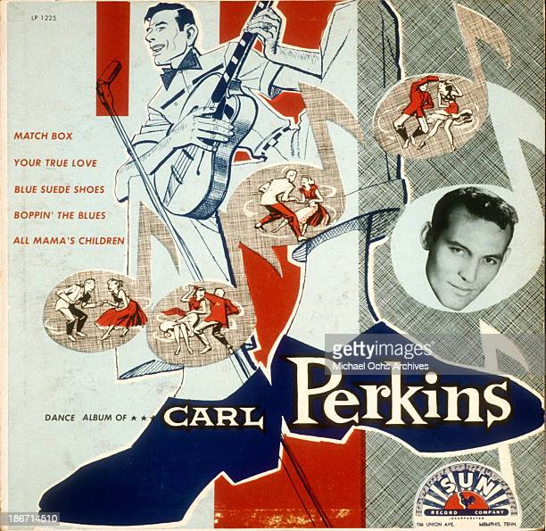 Album cover for 'Dance Album Of Carl Perkins' features a collage of photos and illustrations and the song titles 'Match Box' 'Your True Love' 'Blue...