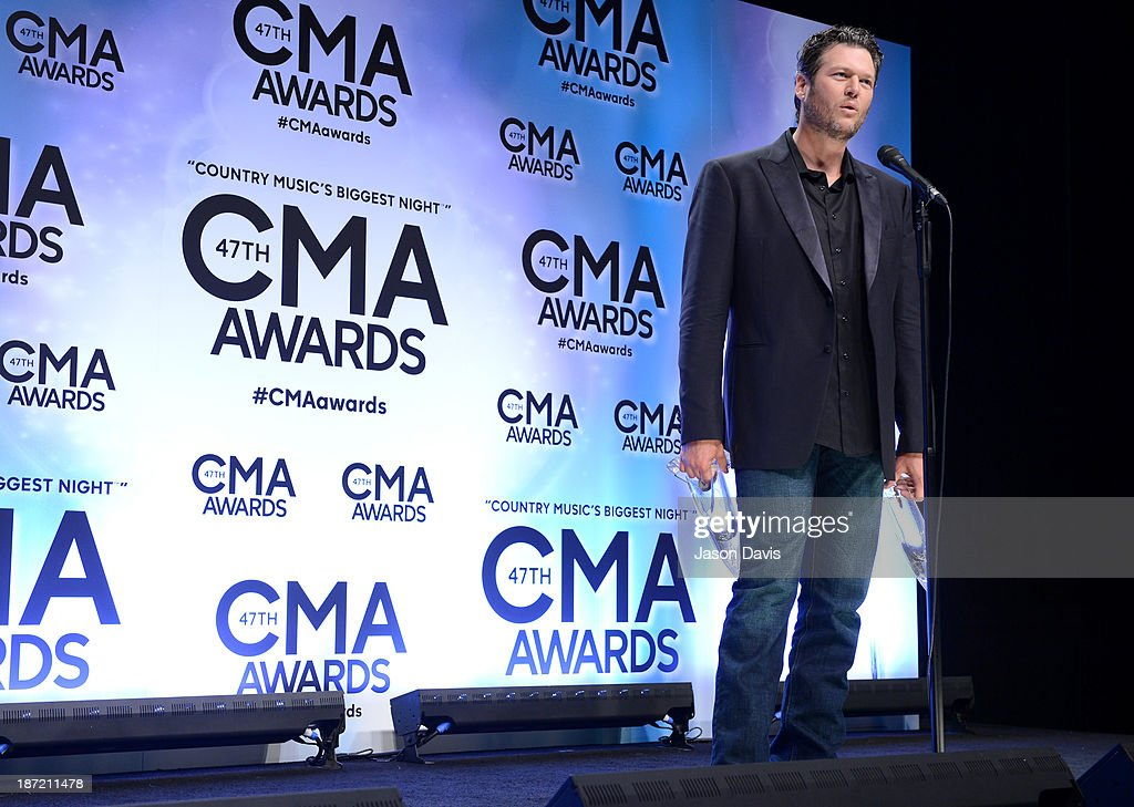Album of the Year and Male Vocalist of the Year award winner <a gi-track='captionPersonalityLinkClicked' href=/galleries/search?phrase=Blake+Shelton&family=editorial&specificpeople=2352026 ng-click='$event.stopPropagation()'>Blake Shelton</a> poses in the press room during the 47th Annual CMA Awards at the Bridgestone Arena on November 6, 2013 in Nashville, Tennessee.