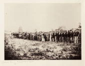 Albumen print by Alexander Gardener from a negative by Timothy H O'Sullivan of a group of Confederate prisoners of war in Virginia USA These soldiers...