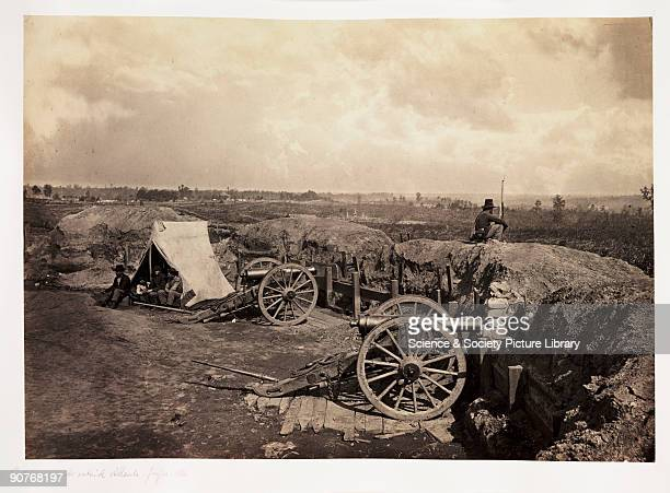 Albumen print by G N Barnard of a Confederate artillery battery defending the city of Atlanta The Union Army besieged Atlanta from July 1864 finally...
