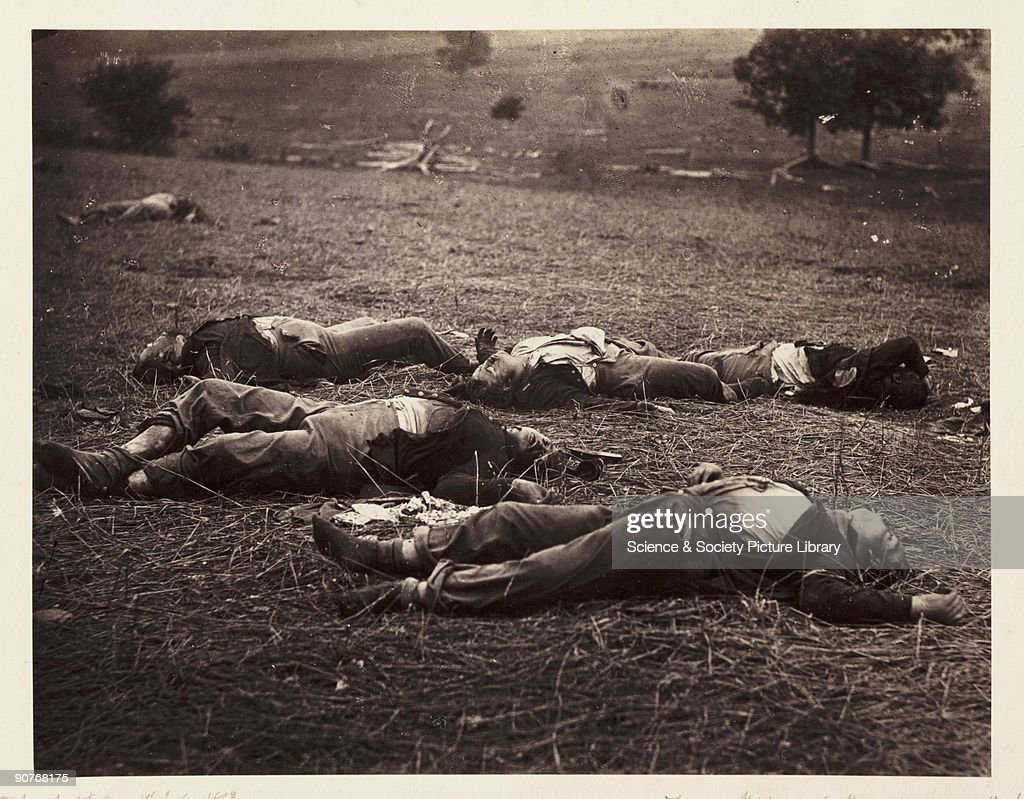 Albumen print of dead soldiers on the battlefield at Gettysburg USA by Alexander Gardener from a negative by Timothy H O'Sullivan The Battle of...