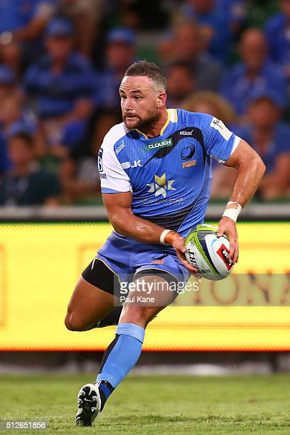 Alby Mathewson of the Force looks to pass the ball during the round one Super Rugby match between the Force and the Rebels at nib Stadium on February...