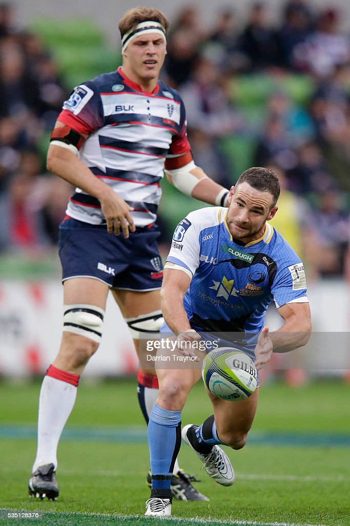 Alby Mathewson of the Force passes the ball during the round 14 Super Rugby match between the Rebels and the Force at AAMI Park on May 29, 2016 in Melbourne, Australia.