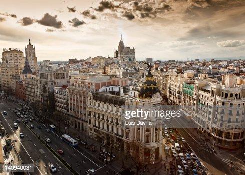 alcala street with gran via in madrid : Stock Photo