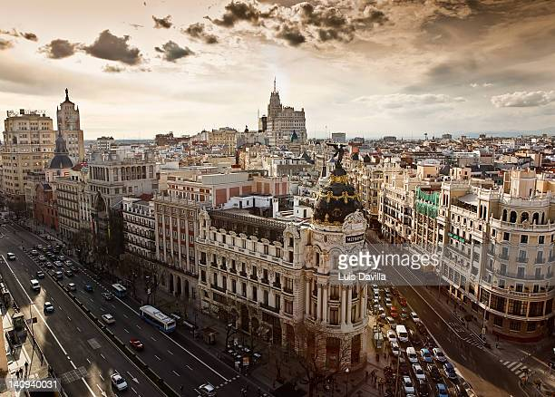 alcala street with gran via in madrid