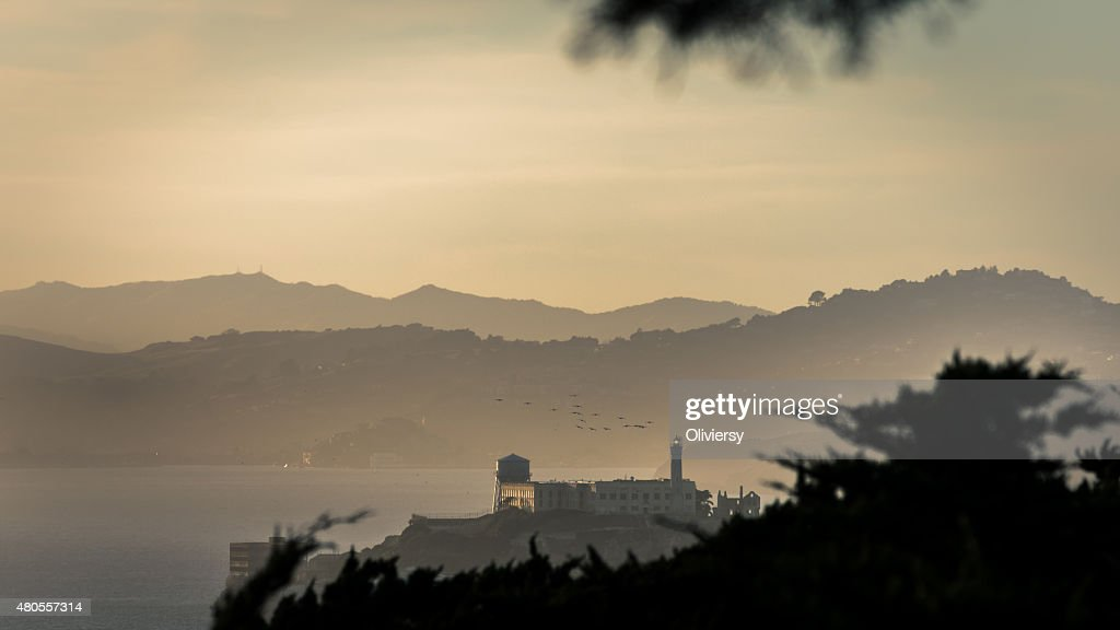 Alcatraz Island Sunset : Stock Photo