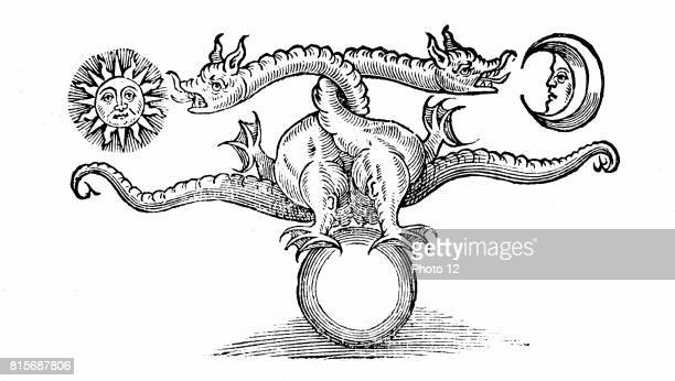 Alchemical symbol of transmutation of base metal into Gold and Silver through the agency of the dragon From 'Theatrum Chemicum Britannicum' Elias...