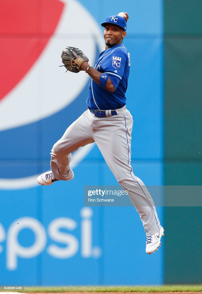 Alcides Escobar #2 of the Kansas City Royals attempts to throw out Jay Bruce #32 of the Cleveland Indians at first base during the seventh inning at Progressive Field on September 16, 2017 in Cleveland, Ohio. The Indians defeated the Royals 8-4.