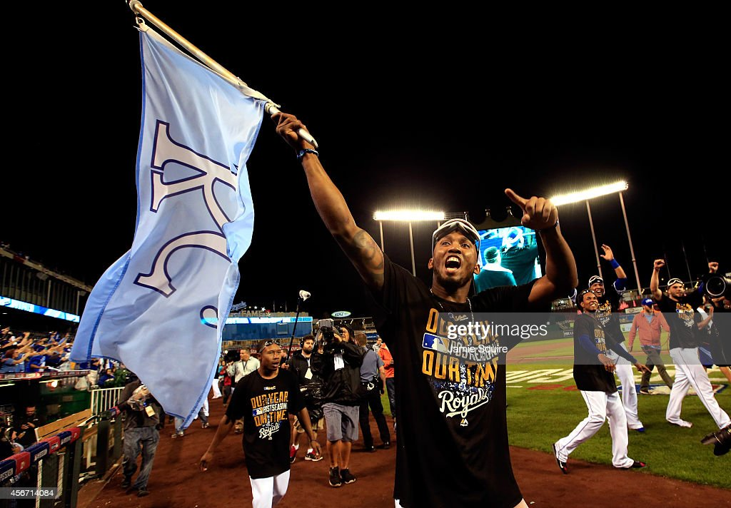 Alcides Escobar of the Kansas City Royals celebrates after the Royals defeated the Los Angeles Angels 93 to win game 3 of the American League...