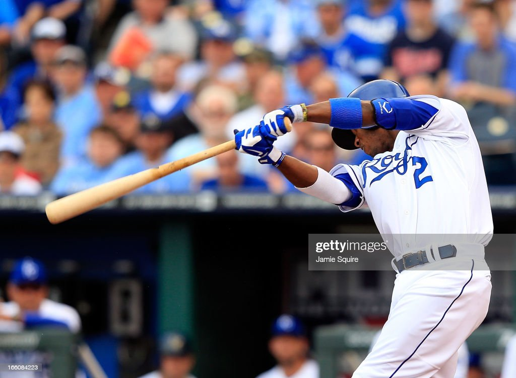 <a gi-track='captionPersonalityLinkClicked' href=/galleries/search?phrase=Alcides+Escobar&family=editorial&specificpeople=4845889 ng-click='$event.stopPropagation()'>Alcides Escobar</a> #2 of the Kansas City Royals doubles to drive in <a gi-track='captionPersonalityLinkClicked' href=/galleries/search?phrase=Alex+Gordon+-+Baseball+Player&family=editorial&specificpeople=4494252 ng-click='$event.stopPropagation()'>Alex Gordon</a> #4 and the winning run during the 8th inning of the Kansas City Royals home opener against the Minnesota Twins at Kauffman Stadium on April 8, 2013 in Kansas City, Missouri.