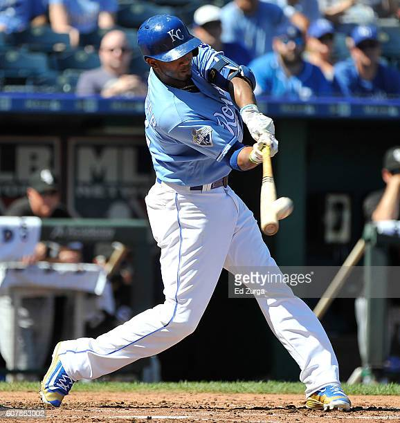 Alcides Escobar of the Kansas City Royals hits a home run in the second inning against the Chicago White Sox at Kauffman Stadium on September 19 2016...