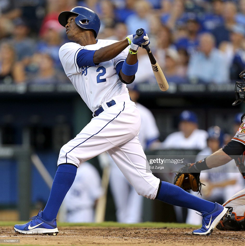 <a gi-track='captionPersonalityLinkClicked' href=/galleries/search?phrase=Alcides+Escobar&family=editorial&specificpeople=4845889 ng-click='$event.stopPropagation()'>Alcides Escobar</a> #2 of the Kansas City Royals hits a sacrifice fly in the third during a game against the Baltimore Orioles at Kauffman Stadium on July 22, 2013 in Kansas City, Missouri.