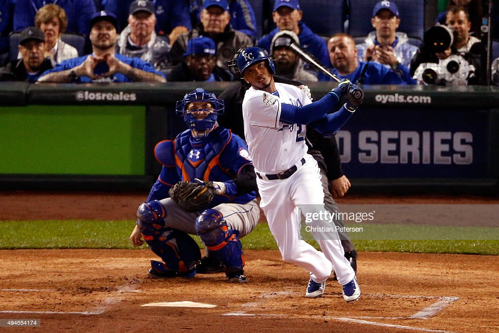 <a gi-track='captionPersonalityLinkClicked' href=/galleries/search?phrase=Alcides+Escobar&family=editorial&specificpeople=4845889 ng-click='$event.stopPropagation()'>Alcides Escobar</a> #2 of the Kansas City Royals hits an inside-the-park home run in the first inning against the New York Mets during Game One of the 2015 World Series at Kauffman Stadium on October 27, 2015 in Kansas City, Missouri.