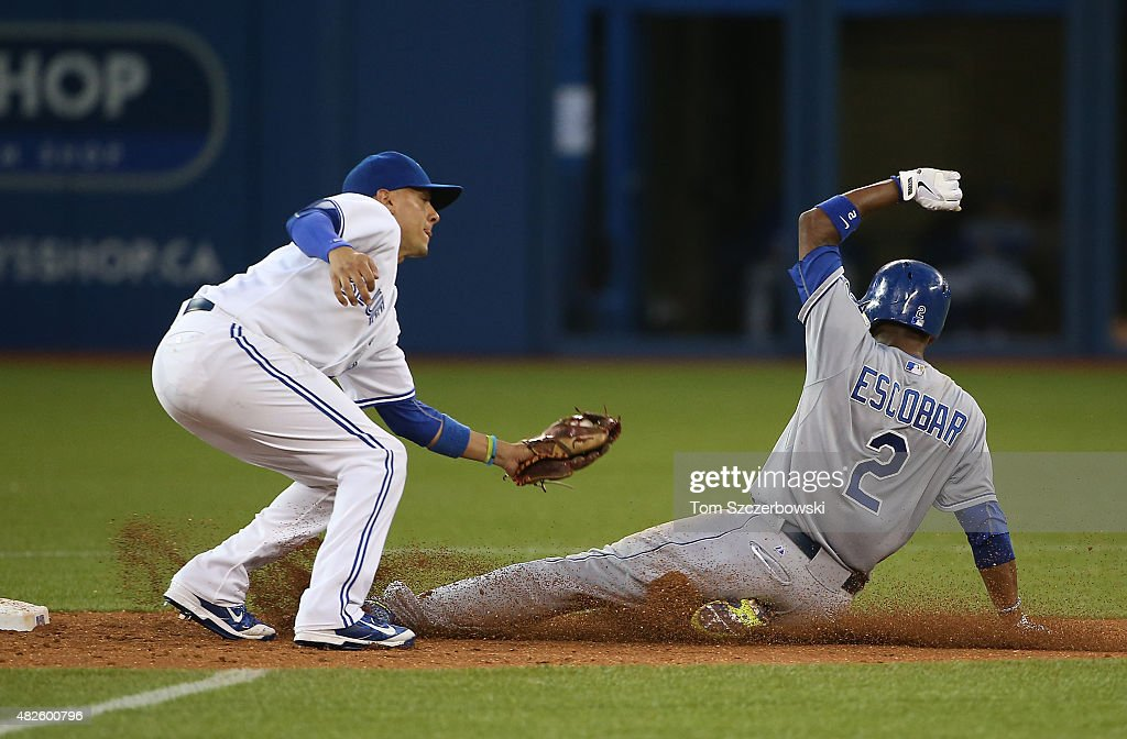 Alcides Escobar #2 of the Kansas City Royals is caught stealing second base in the fifth inning during MLB game action as Ryan Goins #17 of the Toronto Blue Jays tags him out on July 31, 2015 at Rogers Centre in Toronto, Ontario, Canada.