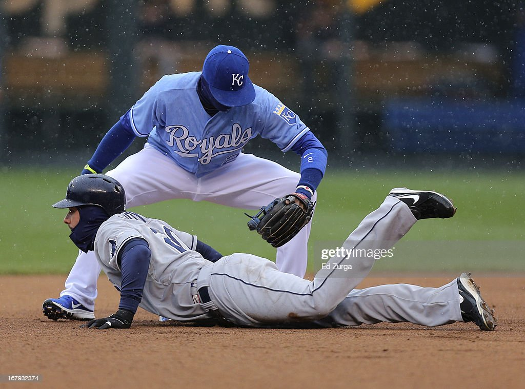 <a gi-track='captionPersonalityLinkClicked' href=/galleries/search?phrase=Alcides+Escobar&family=editorial&specificpeople=4845889 ng-click='$event.stopPropagation()'>Alcides Escobar</a> #2 of the Kansas City Royals is late with the tag on Matt Joyce #20 of the Tampa Bay Rays on a pick off attempt in the first inning at Kauffman Stadium on May 2, 2013 in Kansas City, Missouri.
