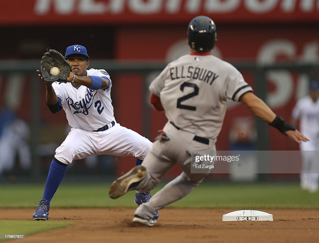<a gi-track='captionPersonalityLinkClicked' href=/galleries/search?phrase=Alcides+Escobar&family=editorial&specificpeople=4845889 ng-click='$event.stopPropagation()'>Alcides Escobar</a> #2 of the Kansas City Royals makes the catch and prepares to tag out <a gi-track='captionPersonalityLinkClicked' href=/galleries/search?phrase=Jacoby+Ellsbury&family=editorial&specificpeople=4172583 ng-click='$event.stopPropagation()'>Jacoby Ellsbury</a> #2 of the Boston Red Sox on a steal in the first inning at Kauffman Stadium August, 8, 2013 in Kansas City, Missouri.