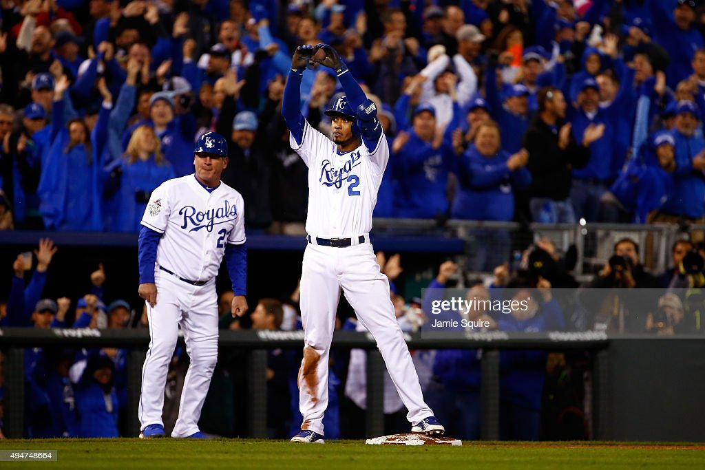 <a gi-track='captionPersonalityLinkClicked' href=/galleries/search?phrase=Alcides+Escobar&family=editorial&specificpeople=4845889 ng-click='$event.stopPropagation()'>Alcides Escobar</a> #2 of the Kansas City Royals reacts after hitting an RBI triple to score Alex Gordon #4 of the Kansas City Royals (not pictured) in the eighth inning against the New York Mets in Game Two of the 2015 World Series at Kauffman Stadium on October 28, 2015 in Kansas City, Missouri.