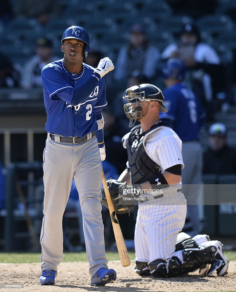 Alcides Escobar #2 of the Kansas City Royals reacts to a called strike during the seventh inning against the Chicago White Sox on April 3, 2012 at U.S. Cellular Field in Chicago, Illinois.