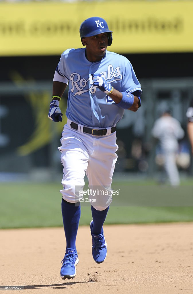 <a gi-track='captionPersonalityLinkClicked' href=/galleries/search?phrase=Alcides+Escobar&family=editorial&specificpeople=4845889 ng-click='$event.stopPropagation()'>Alcides Escobar</a> #2 of the Kansas City Royals rounds second after hitting a home run in the fifth inning during game one of a doubleheader against the Cleveland Indians at Kauffman Stadium on April 28, 2013 in Kansas City, Missouri.