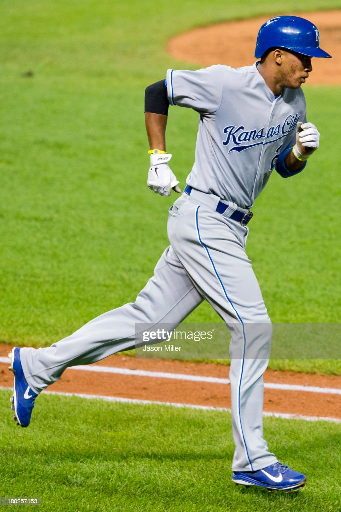 <a gi-track='captionPersonalityLinkClicked' href=/galleries/search?phrase=Alcides+Escobar&family=editorial&specificpeople=4845889 ng-click='$event.stopPropagation()'>Alcides Escobar</a> #2 of the Kansas City Royals rounds the bases after hitting a solo home run during the fifth inning against the Cleveland Indians at Progressive Field on September 10, 2013 in Cleveland, Ohio.