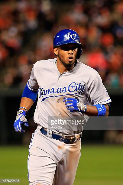 Alcides Escobar of the Kansas City Royals runs the bases after hitting a solo home run to left field in the third inning against Chris Tillman of the...