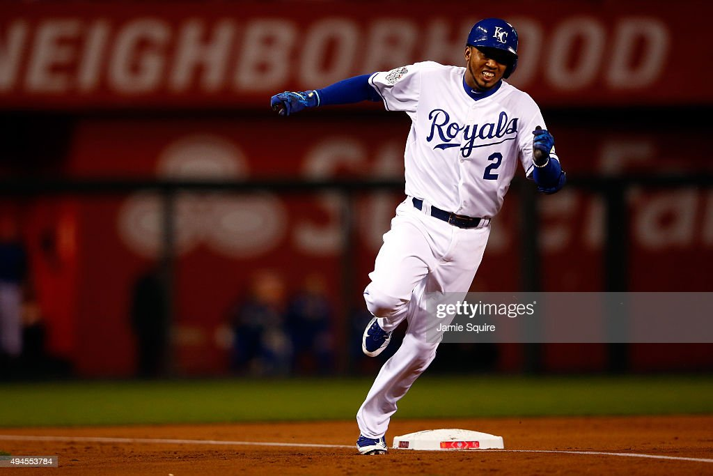 <a gi-track='captionPersonalityLinkClicked' href=/galleries/search?phrase=Alcides+Escobar&family=editorial&specificpeople=4845889 ng-click='$event.stopPropagation()'>Alcides Escobar</a> #2 of the Kansas City Royals runs the bases after hitting an inside the park home run in the first inning against the New York Mets during Game One of the 2015 World Series at Kauffman Stadium on October 27, 2015 in Kansas City, Missouri.