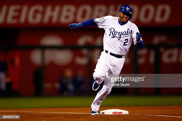 Alcides Escobar of the Kansas City Royals runs the bases after hitting an inside the park home run in the first inning against the New York Mets...