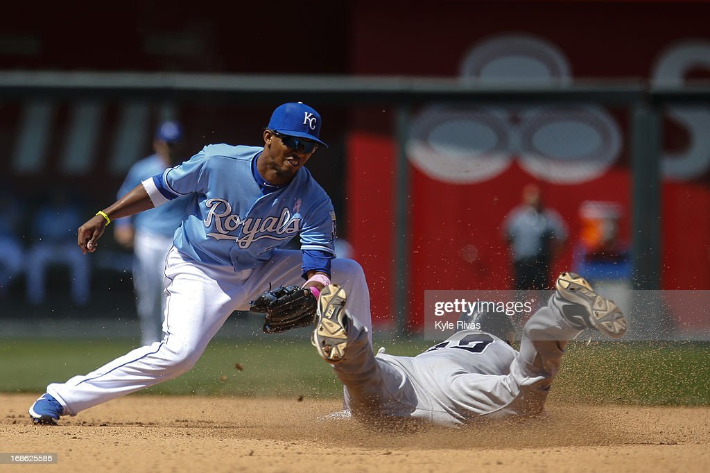 <a gi-track='captionPersonalityLinkClicked' href=/galleries/search?phrase=Alcides+Escobar&family=editorial&specificpeople=4845889 ng-click='$event.stopPropagation()'>Alcides Escobar</a> #2 of the Kansas City Royals tags out Chris Stewart #19 of the New York Yankees at second base in the sixth inning on May 12, 2013 at Kauffman Stadium in Kansas City, Missouri.