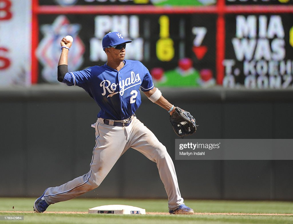 <a gi-track='captionPersonalityLinkClicked' href=/galleries/search?phrase=Alcides+Escobar&family=editorial&specificpeople=4845889 ng-click='$event.stopPropagation()'>Alcides Escobar</a> #2 of the Kansas City Royals throws for the out at first base in the ninth inning against the Minnesota Twins at Target Field on August 29, 2013 in Minneapolis, Minnesota. The Royals defeated the Twins 3-1.
