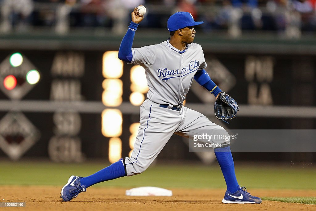 <a gi-track='captionPersonalityLinkClicked' href=/galleries/search?phrase=Alcides+Escobar&family=editorial&specificpeople=4845889 ng-click='$event.stopPropagation()'>Alcides Escobar</a> #2 of the Kansas City Royals throws the ball to first base in the seventh inning of the game against the Kansas City Royals at Citizens Bank Park on April 6, 2013 in Philadelphia, Pennsylvania. The Phillies won 4-3.