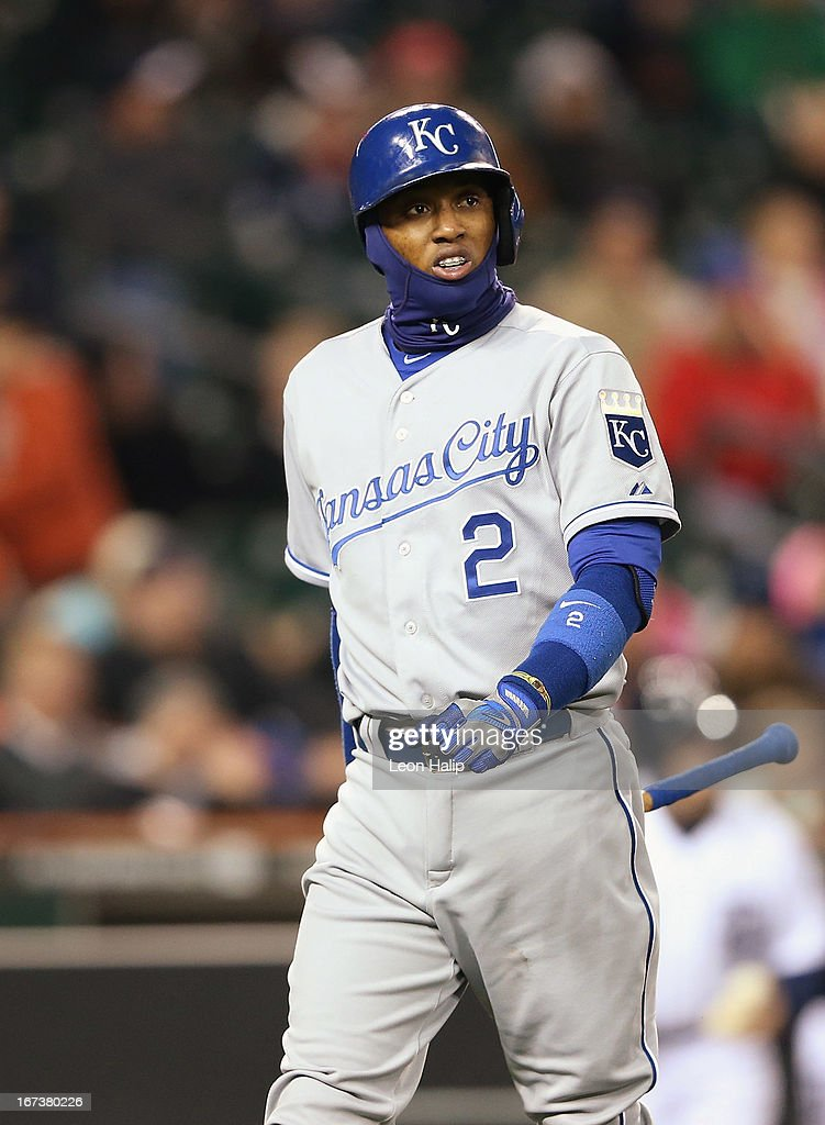 <a gi-track='captionPersonalityLinkClicked' href=/galleries/search?phrase=Alcides+Escobar&family=editorial&specificpeople=4845889 ng-click='$event.stopPropagation()'>Alcides Escobar</a> #2 of the Kansas City Royals walks back to the dugout after striking out in the seventh inning during the game against the Detroit Tigers at Comerica Park on April 24, 2013 in Detroit, Michigan. The Tigers defeated the Royals 7-5.