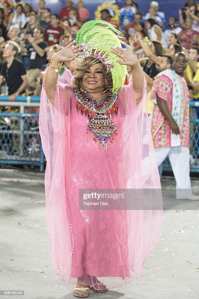 Alcione attends to the Rio Carnival in Sambodromo on February 8, 2016 in Rio de Janeiro, Brazil. Despite the Zika virus epidemic, thousands of tourists gathered in Rio de Janeiro for the carnival.