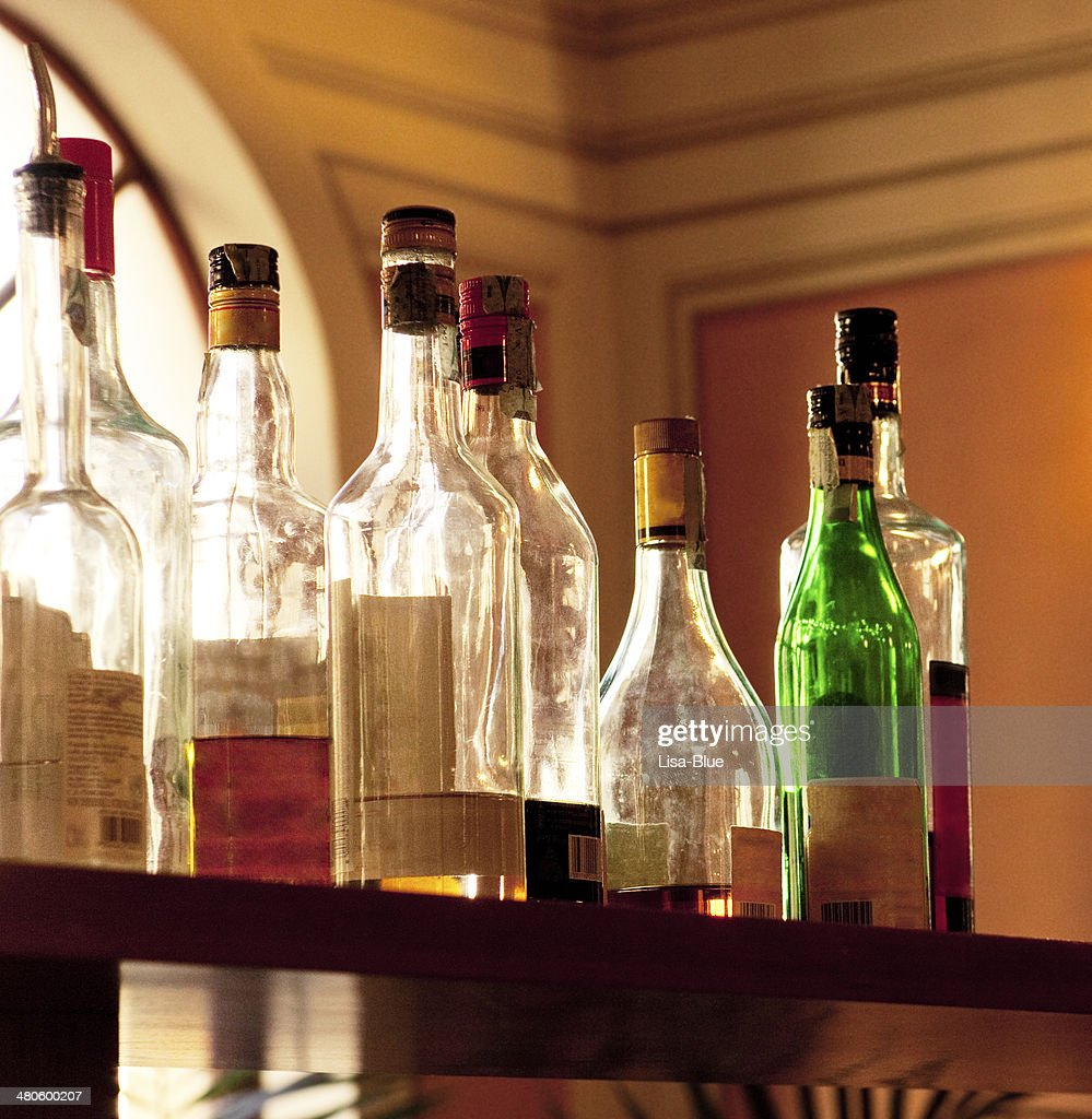 Alcohol bottles in a Bar : Stock Photo