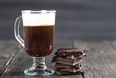 alcoholic irish coffee with dark chocolate