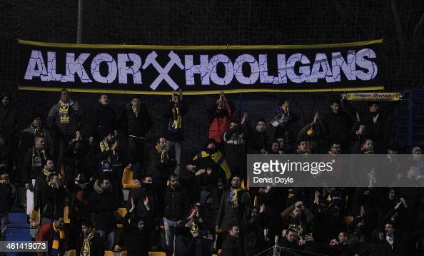 Alcorcon fans watch their team play RCD Espanyol in the Copa del Rey Round of 16 1st leg match between Alcorcon and Espanyol at Estadio Municipal de...