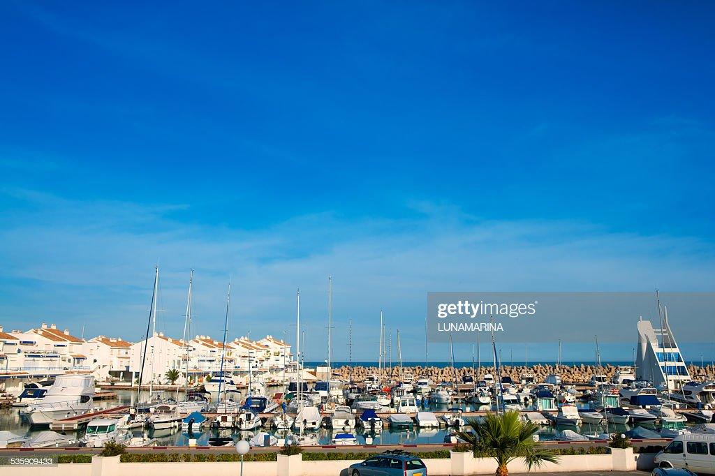 Alcossebre alcoceber marina port in Castellon Spain : Stock Photo