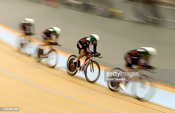 Aldapa Juan Enrique Edibaldo Maldonado Cristaina Alejandro Medina and Diego Jonathan Yepez in action during the Men's Team Pursuit at the PanAmerican...