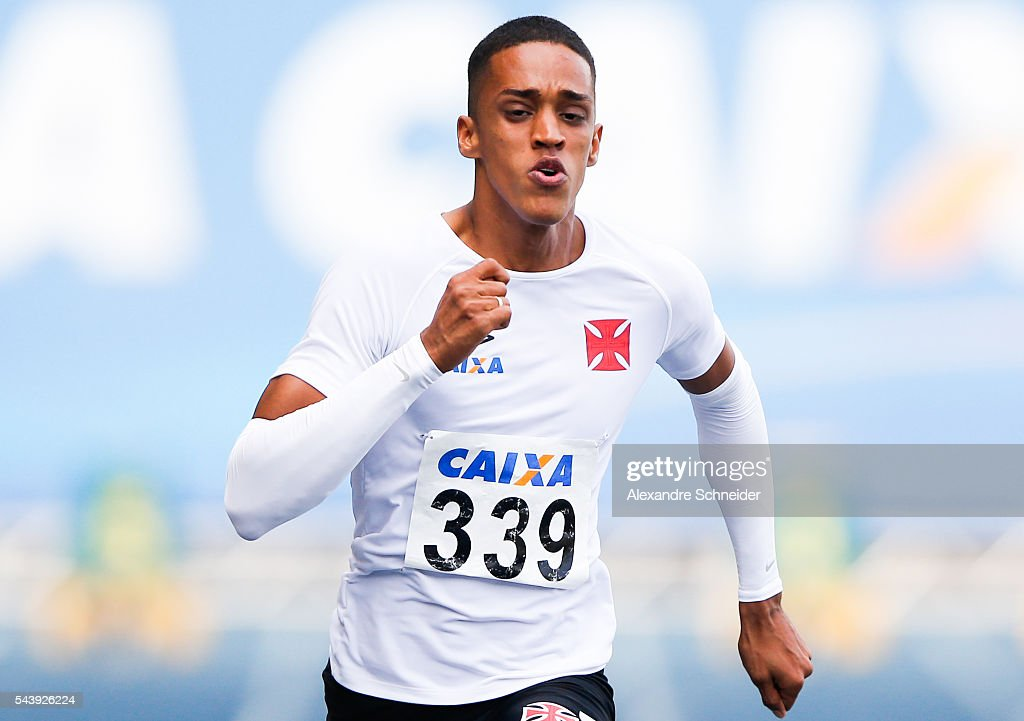 Aldemir da Silva competes in the Men's 100 meters qualifying at Arena Caixa Complex during day one of XXXV Brazil Caixa Athletics Trophy on June 30, 2016 in Sao Bernardo do Campo, Brazil.