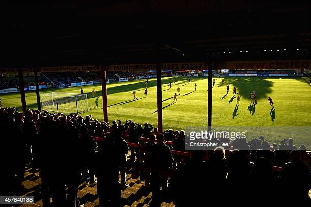 Aldershot fans watch from the stands during the FA Cup Qualifying Fourth Round match bteween Aldershot Town and Torquay United at The Electrical...